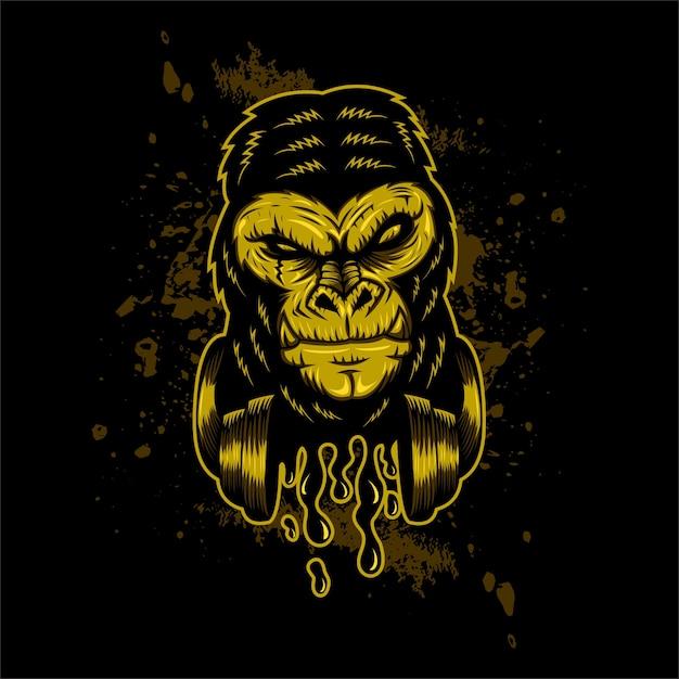 Illustration vectorielle de gorille casque Vecteur Premium