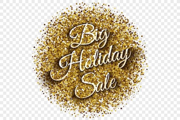Illustration vectorielle de grandes vacances vente or tinsel Vecteur Premium