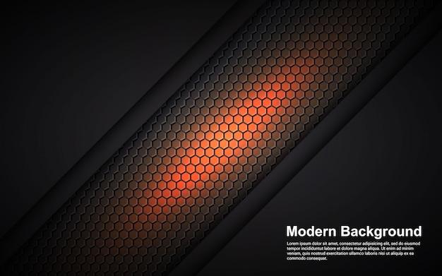 Illustration Vectorielle Graphique De Dimension Orange Abstrait Sur Fond Noir Moderne Vecteur Premium