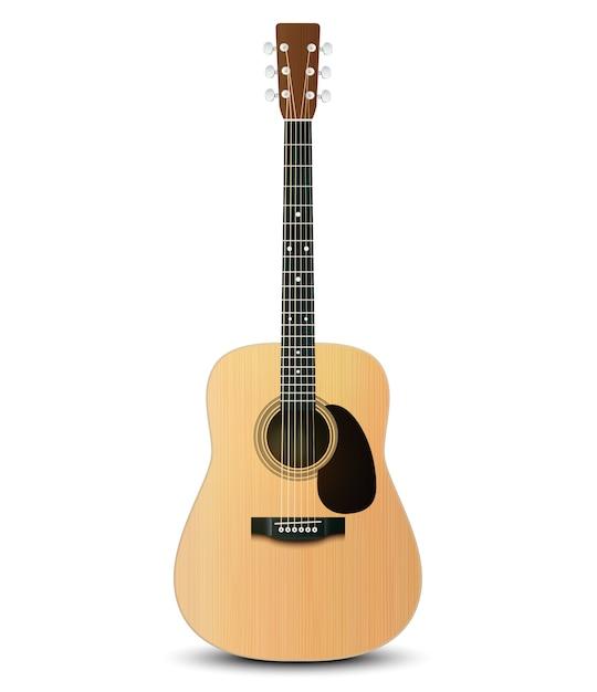 Illustration Vectorielle De Guitare Acoustique Réaliste Vecteur Premium