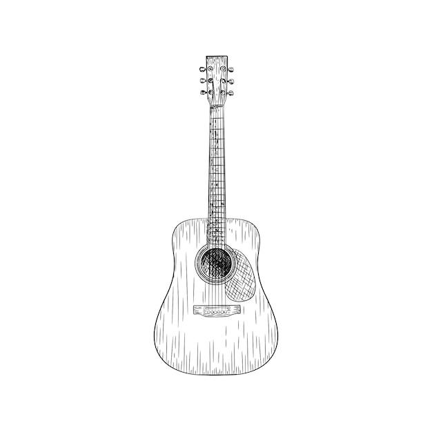 Une illustration vectorielle de guitare Vecteur Premium
