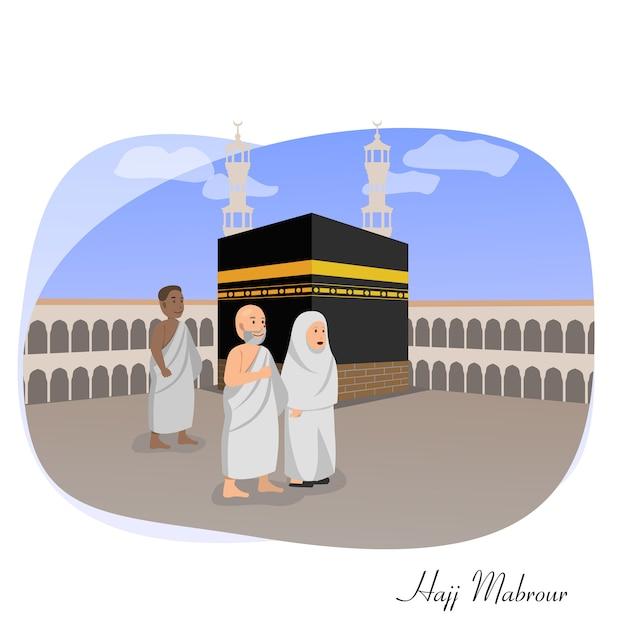 Illustration vectorielle de hadj mabrour carte de voeux islamique Vecteur Premium