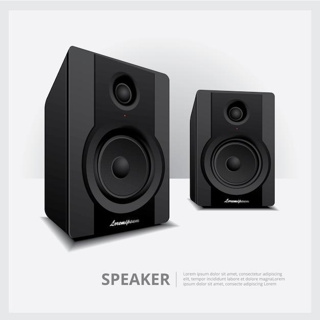 Illustration vectorielle de haut-parleurs isolés Vecteur Premium
