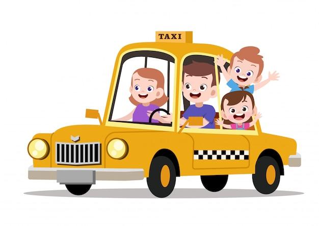 Illustration vectorielle de heureux enfants famille équitation taxi Vecteur Premium