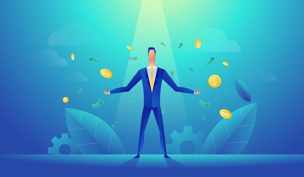 Illustration vectorielle de l'heureux homme d'affaires célèbre le succès Vecteur Premium