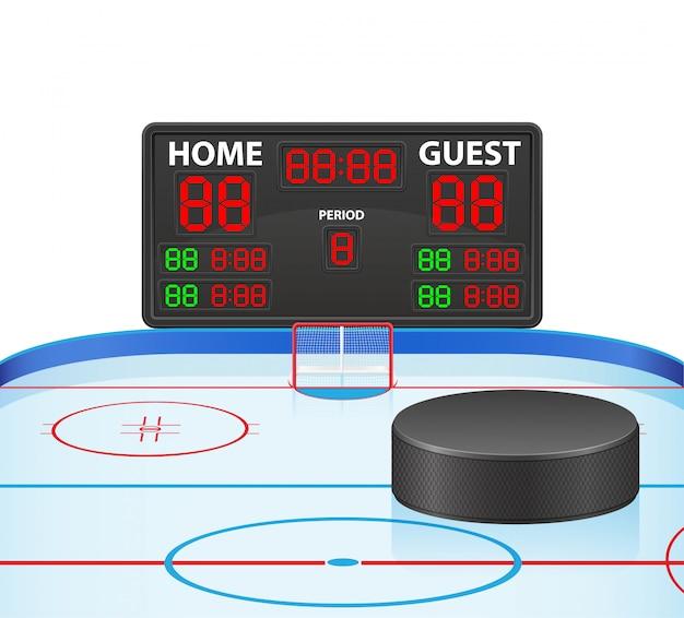 Illustration Vectorielle De Hockey Sportif Tableau De Bord Numérique Vecteur Premium