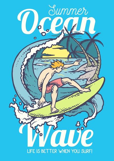 Illustration vectorielle de l'homme surfant sur l'océan Vecteur Premium