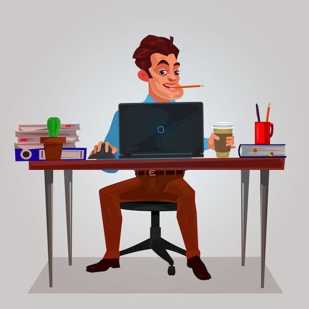 Illustration Vectorielle D'un Homme Travaillant Sur L'ordinateur Portable Vecteur gratuit