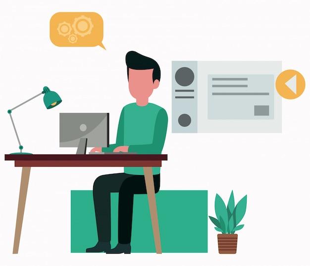 Illustration vectorielle d un homme travaillant sur l ordinateur ... 59ffffe45398