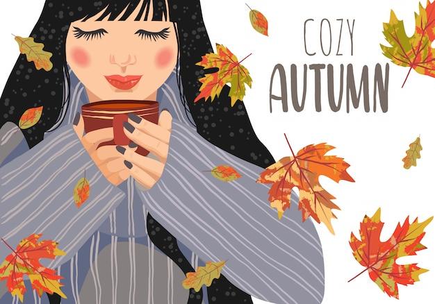 Illustration vectorielle horizontale de femme avec une tasse de thé et de feuilles qui tombent sur un fond blanc. Vecteur Premium