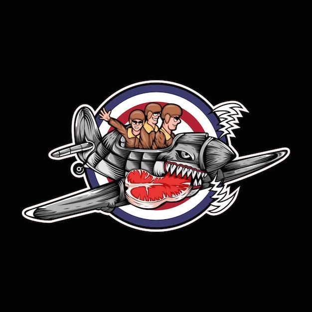 Illustration vectorielle de huricane avion viande trois homme Vecteur Premium
