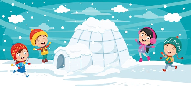 Illustration vectorielle d'igloo Vecteur Premium