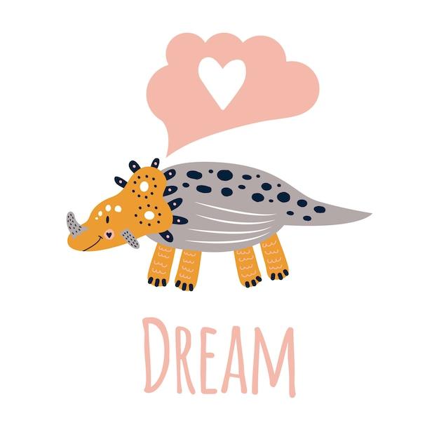 Illustration vectorielle imprimé mignon de pépinière avec des tricératops de dinosaures. broche, jaune, gris rêver. pour les t-shirts, les affiches, les banderoles et les cartes de souhaits des enfants. Vecteur Premium