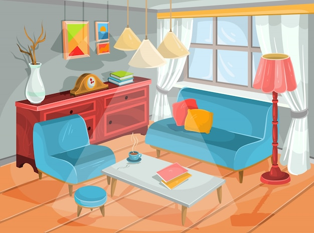 Illustration vectorielle d'un intérieur de bande dessinée confortable d'une salle d'accueil, d'un salon Vecteur gratuit
