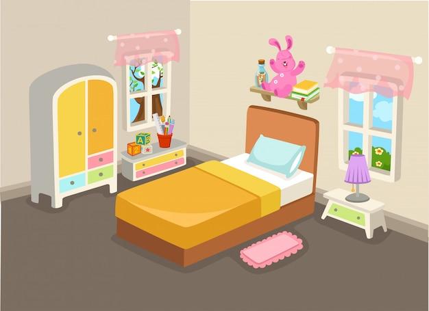 Illustration Vectorielle D'un Intérieur De Chambre à Coucher Avec Un Vecteur De Lit Vecteur Premium