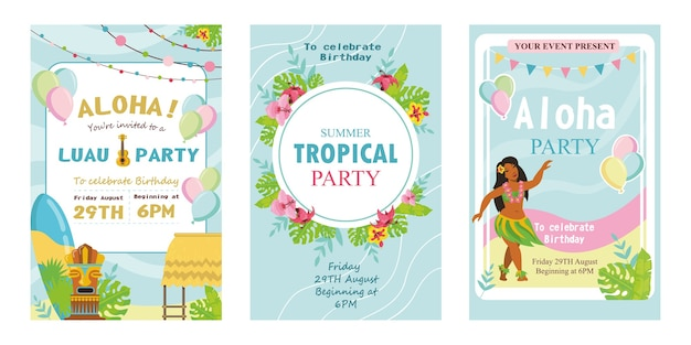 Illustration Vectorielle D'invitations Créatives De Fête Tropicale. Vecteur gratuit