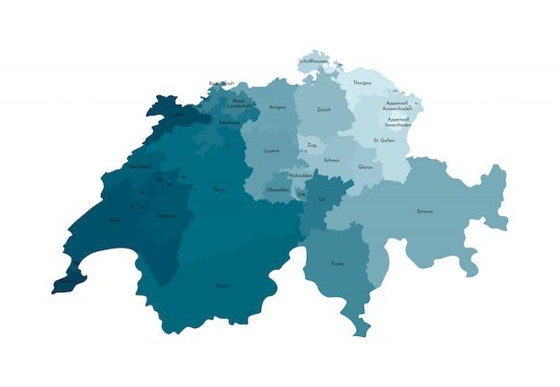 Illustration vectorielle isolé de la carte administrative simplifiée de la suisse Vecteur Premium