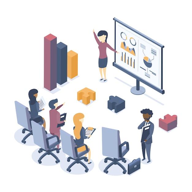 Illustration vectorielle isométrique. le concept de formation en entreprise. formation en entreprise. séminaire pour les employés. analyse de statistiques. briefing. Vecteur Premium