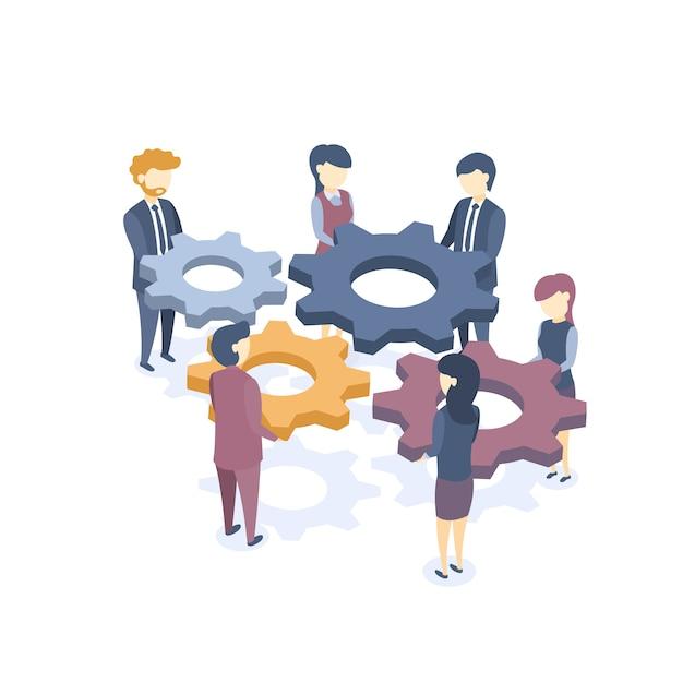 Illustration vectorielle isométrique. le concept de travail en équipe. solutions de problèmes commerciaux. formation en entreprise. style plat. Vecteur Premium