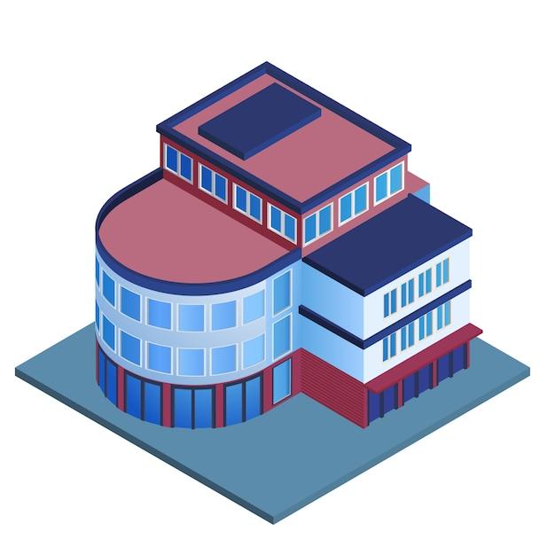Illustration vectorielle isométrique isolé entreprise moderne 3d bureaux urbains Vecteur Premium
