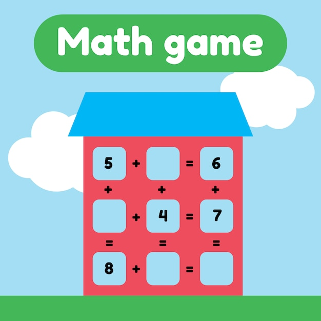 Illustration vectorielle jeu de mathématiques pour les enfants d'âge préscolaire et scolaire. comptez et insérez les bons numéros. une addition. maison avec fenêtres. Vecteur Premium