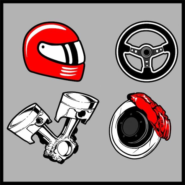 Illustration vectorielle d'un jeu de voiture de pièces Vecteur Premium