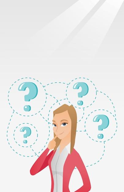 Illustration vectorielle de jeune entreprise femme pensée. Vecteur Premium