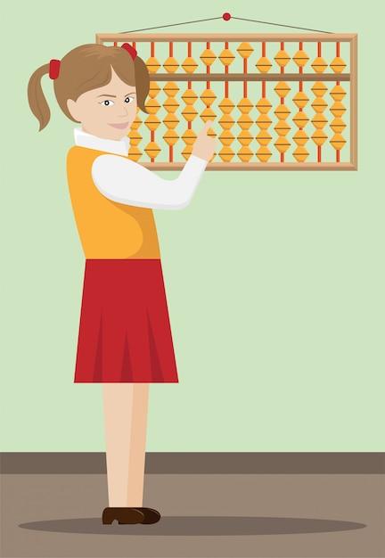 Illustration Vectorielle De La Jeune Fille L'arithmétique Mentale Engagée. Vecteur Premium