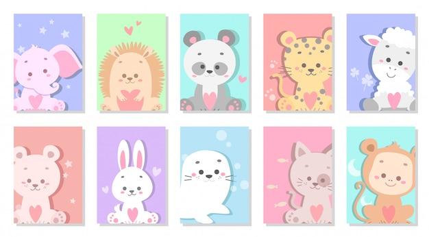 Illustration vectorielle de joli bébé animal carte de voeux Vecteur Premium