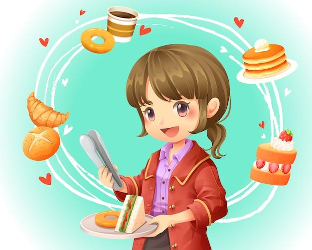 Illustration vectorielle de jolie fille, faire du shopping sur le magasin de boulangerie Vecteur Premium