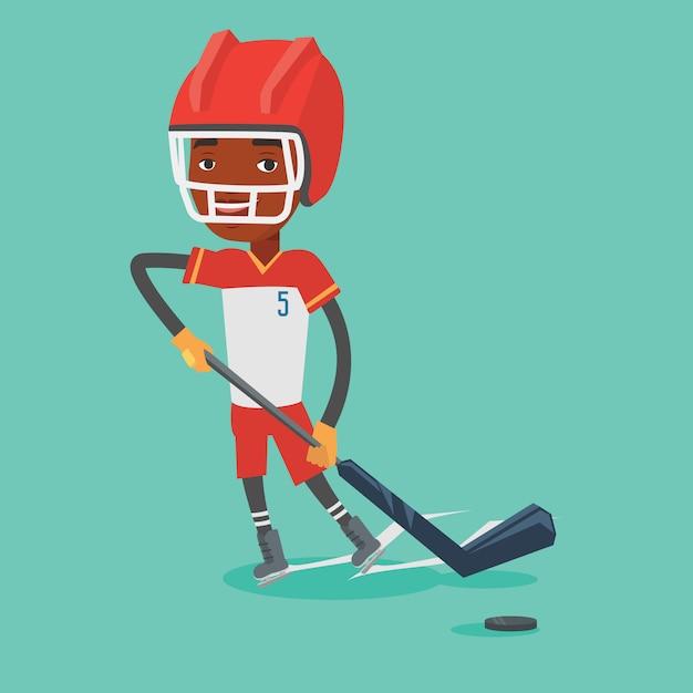 Illustration Vectorielle De Joueur De Hockey Sur Glace. Vecteur Premium