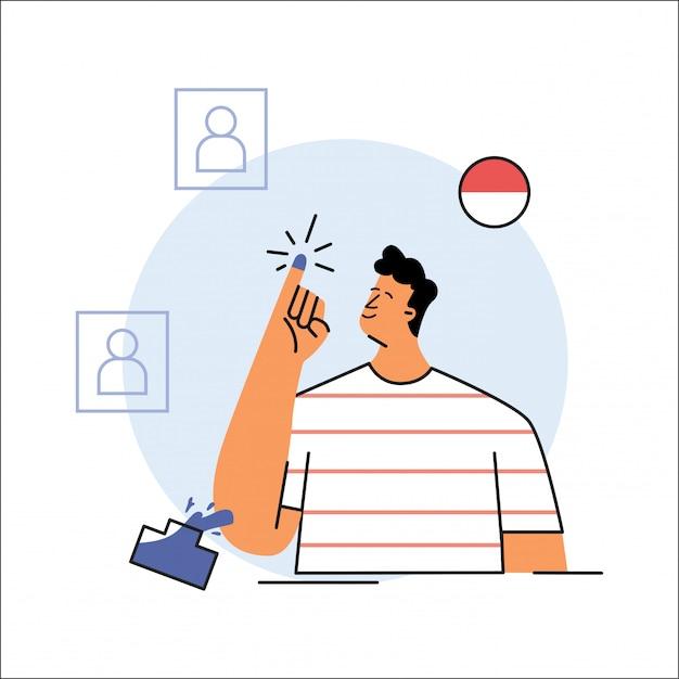 Illustration vectorielle de jour d'élection en indonésie Vecteur Premium