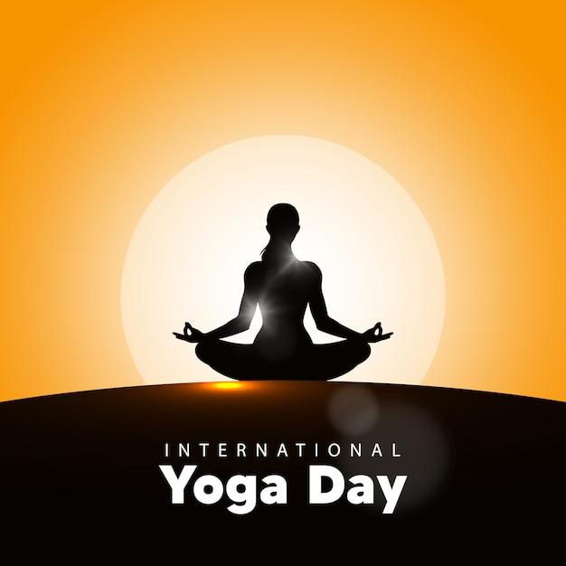 Illustration Vectorielle De La Journée Internationale Du Yoga, Fond De Lever De Soleil. Journée De Yoga Le 21 Juin. Vecteur Premium