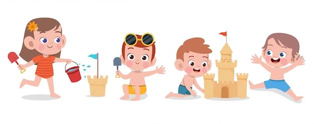 Illustration vectorielle de joyeux enfants plage vacances isolé Vecteur Premium