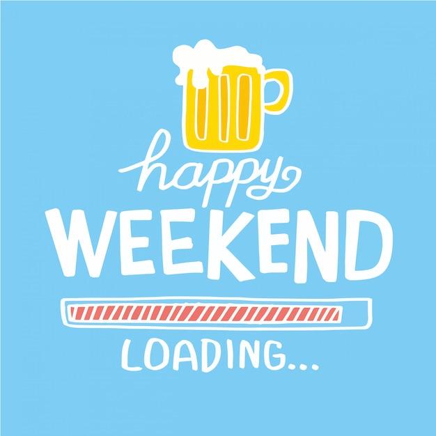 Illustration vectorielle de joyeux week-end bière cartoon doodle Vecteur Premium
