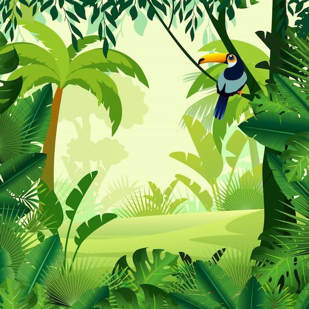 Illustration Vectorielle De La Jungle De Beau Fond Du Matin. Jungle Lumineuse Avec Des Fougères Et Des Fleurs. Pour Le Jeu De Conception, Les Sites Web Et Les Téléphones Mobiles, L'impression. Vecteur Premium