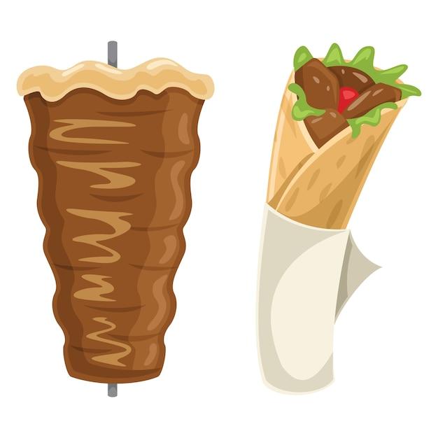 Illustration vectorielle de kebab Vecteur Premium