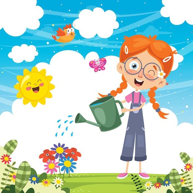 Illustration vectorielle de kid arrosant des fleurs Vecteur Premium