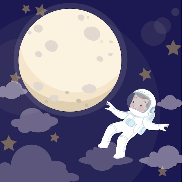 Illustration vectorielle de kid astronaute et lune Vecteur Premium