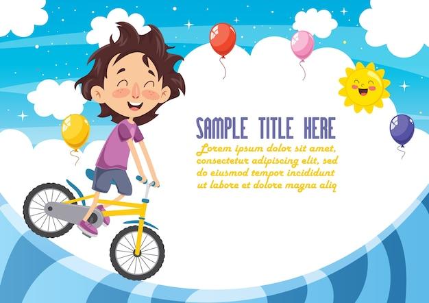 Illustration vectorielle de kid cyclisme Vecteur Premium
