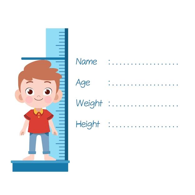 Illustration vectorielle de kid mesure hauteur isolée Vecteur Premium
