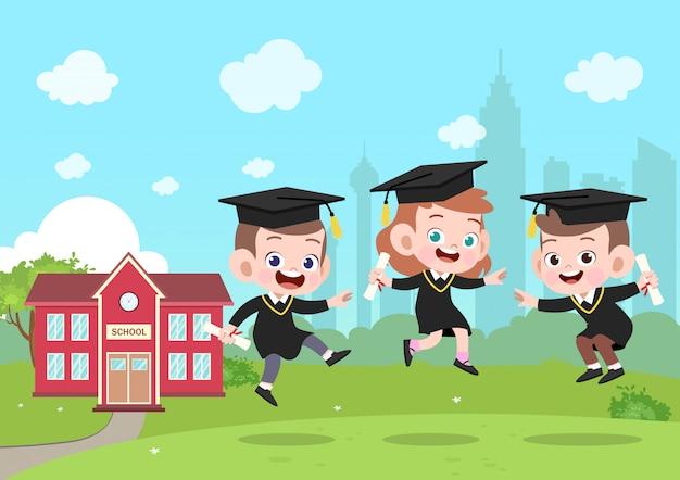 Illustration vectorielle de kids graduation Vecteur Premium