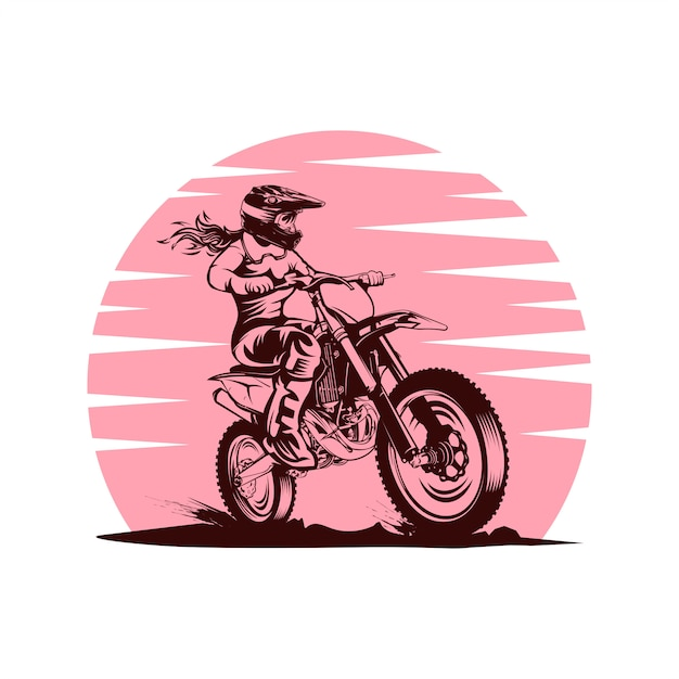Illustration vectorielle de lady sunset motocross Vecteur Premium