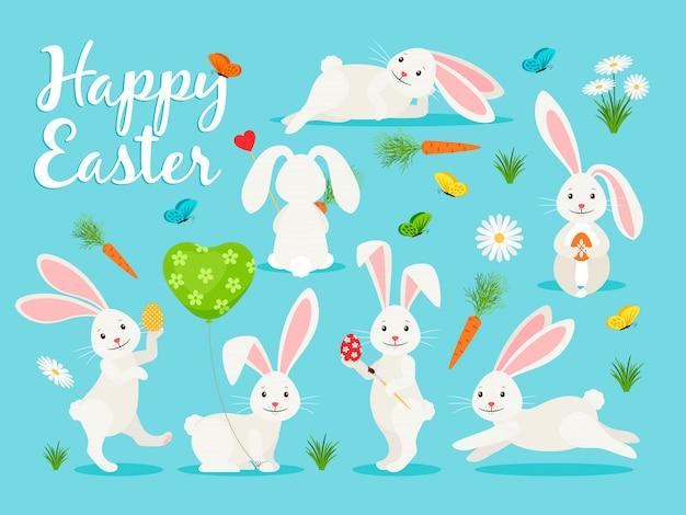 Illustration vectorielle de lapin oriental. joyeux lapin pour la collection de pâques Vecteur Premium