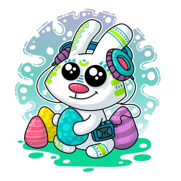 Illustration vectorielle sur le lapin de pâques Vecteur Premium