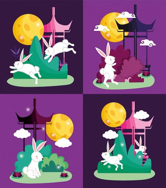Illustration vectorielle de lapins heureux lune festival Vecteur Premium