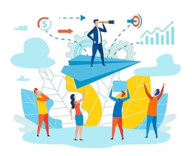 Illustration vectorielle de leader efficace équipe métaphore Vecteur Premium
