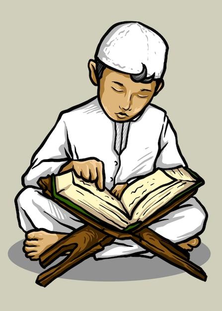 Illustration Vectorielle De La Lecture Du Coran Enfant Musulman - Vecteur Vecteur Premium