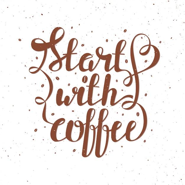 Illustration vectorielle de lettrage avec des grains de café Vecteur Premium