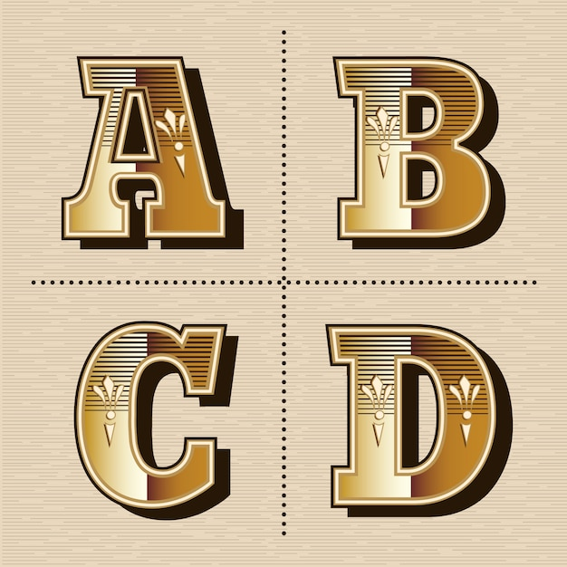 Illustration vectorielle de lettres alphabet occidental vintage design de polices (a, b, c, d) Vecteur Premium